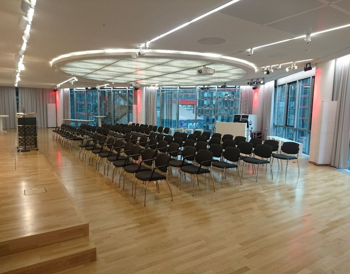 The function room of the Deutsche Kinemathek – Museum für Film und Fernsehen during an event without people.