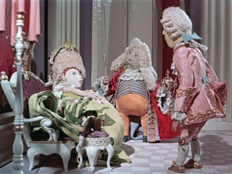 Drei Puppen aus dem Trickfilm Die Prinzessin auf der Erbse