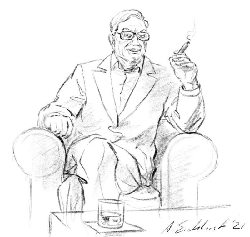 Drawing of Ken Adam