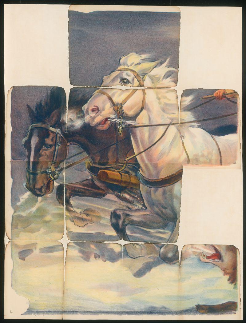 Plakat  mit mehreren Pferden aus der Sonderausstellung Brandspuren