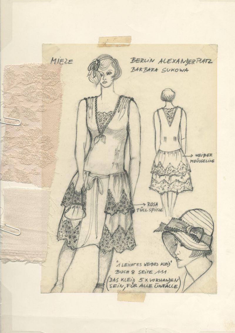 Zeichnung mit drei Ansichten eine Frau im luftigen Kleid mit Stoffprobe