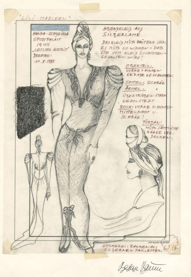Zeichnung mit drei Ansichten einer Frau im eleganten Kleid