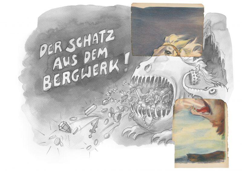 Filmplakat mit Drachen und Pferdekopf