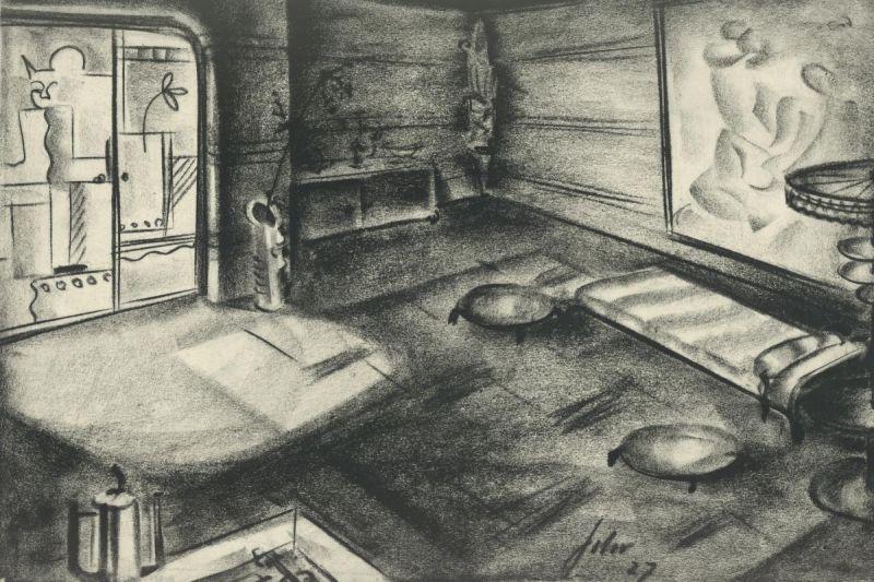 Szenenbildentwurf von Franz Schroedter zu Die große Pause (D 1927, Regie: Carl Froelich)