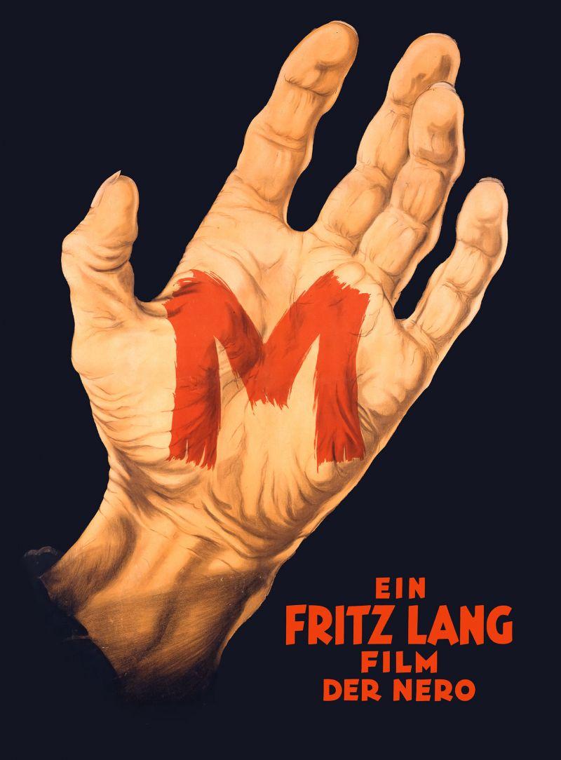 Historisches Filmplakat mit farbiger Grafik einer großen Hand, in deren Innenfläche ein großes rotes M geschrieben steht