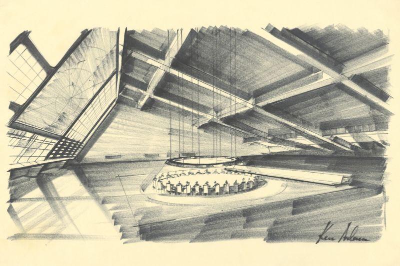 Entwurf von Ken Adam für <i>Dr. Strangelove</i>, 1964, Regie: Stanley Kubrick