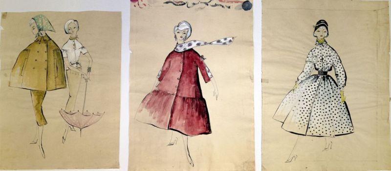 Drei gezeichnete Entwürfe für Kleider.