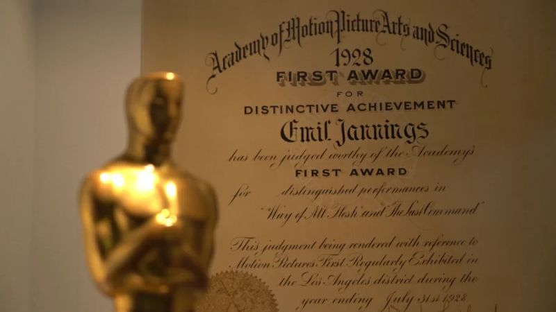 Oscar award infront of the certificate for Emil Jannings