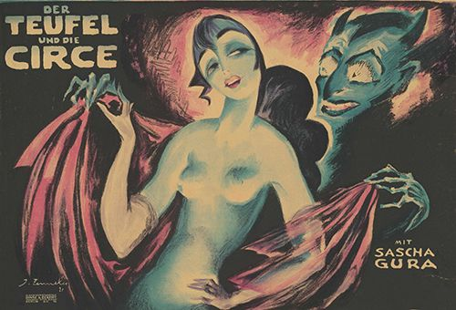 Film poster by Josef Fenneker: Teufel und Circe, Germany 1920, directed by Adolf Gärtner