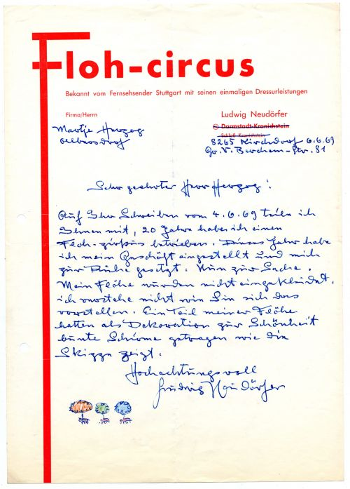 Brief des Flohzirkus-Direktors Ludwig Neudörfer an Werner Herzog