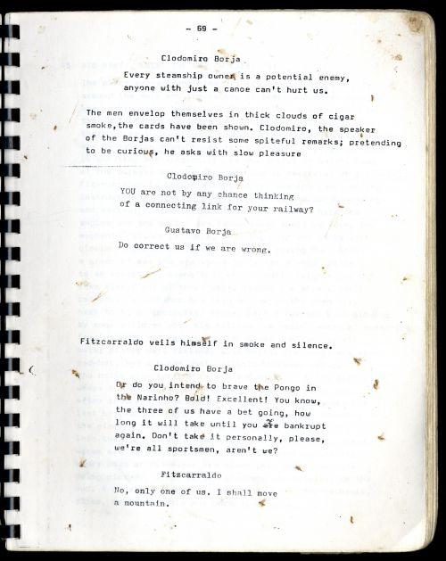 Seite aus dem Drehbuch zu Fitzcarraldo