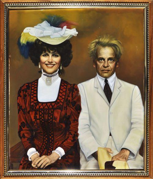 Gemälde, kolorierte Fotografie: Claudia Cardinale und Klaus Kinski, Requisit aus Fitzcarraldo