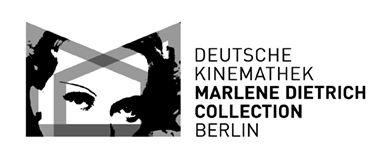 Zu sehen ist das Logo der Marlene Dietrich Collection Berlin. Das Logo ist schwarz weiß und zeigt ihre pregnante Augenpartie kombiniert mit dem Text.