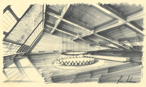 A drawing of the War Room by Set Designers Ken Adam for the film Dr. Strangelove