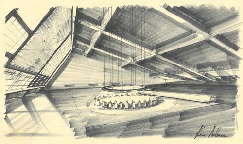 Eine Zeichnung des War Rooms des Set Designers Ken Adam für den Film Dr. Strangelove