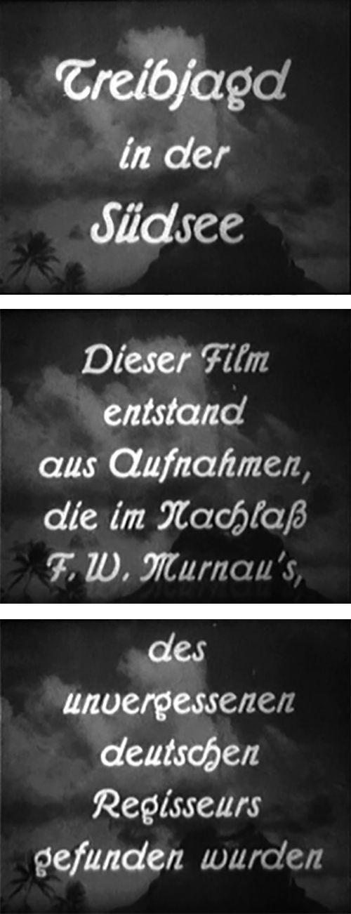 Texttafeln mit Schrift: Treibjagd in der Südsee, Dieser Film entstand aus Aufnahmen, die im Nachlaß F. W. Murnau's, dem unvergessenen deutschen Regisseurs, gefunden wurden