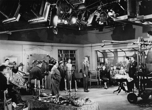 Produktionsfoto vom Film Rope (USA 1948, Regie: Alfred Hitchcock)