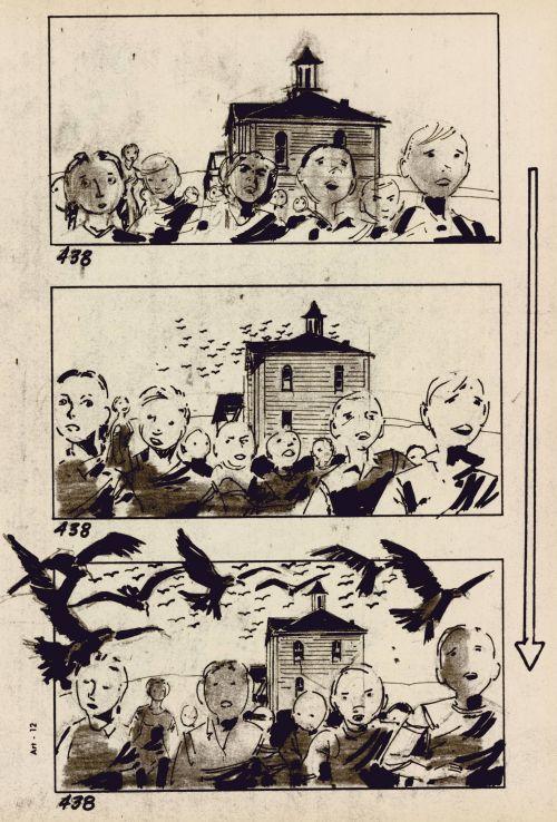 Storyboard-Zeichnung von Harold Michelson für den Film The Birds (USA 1963, Regie: Alfred Hitchcock)