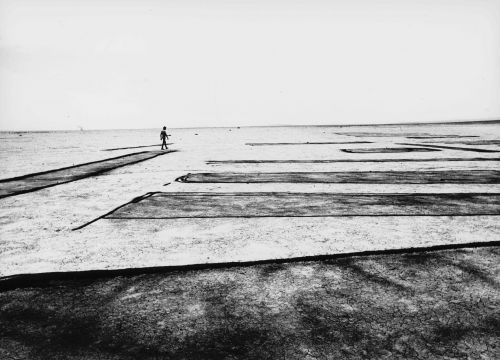 Black and white still from Land Art: person walks in the background amidst a striped, artifical landscape