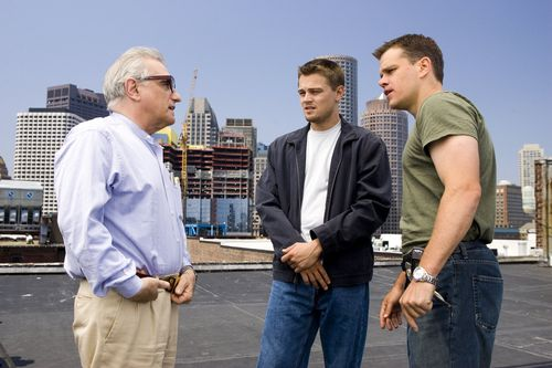 Werkfoto mit Martin Scorsese, Leonardo DiCaprio und Matt Damon des Films The Departed(USA 2006)