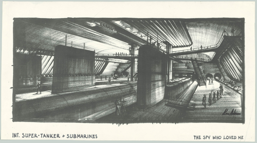 Design sketch of the supertanker Liparus from the film The Spy Who Loved Me (United Kingdom/U.S.A. 1977, directed by Lewis Gilbert)