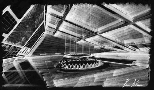 Entwurfszeichnung des War Room für den Film Dr. Strangelove (Großbritannien/U.S.A. 1964, Regie: Stanly Kubrick)