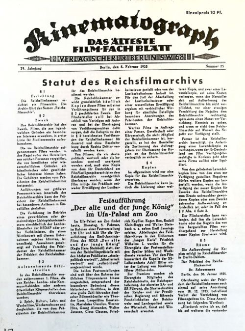 Statute of the Reichsfilmarchiv, published in the Kinematograph on 2/5/1933, Source: SDK Library