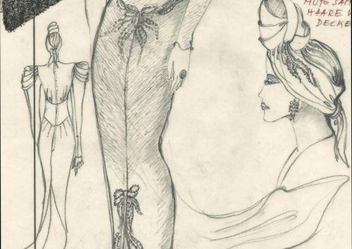 Figurine für das Silberlamé-Auftrittskleid von Hanna Schygulla in Lili Marleen