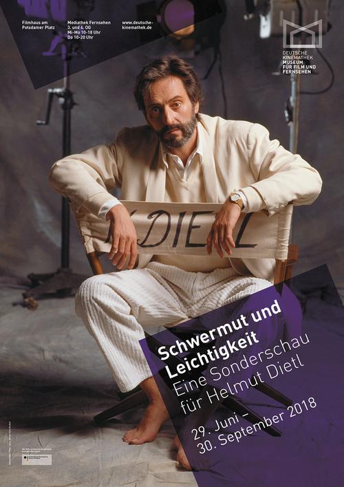 """Plakat der Ausstellung """"Schwermut und Leichtigkeit — Eine Sonderschau für Helmut Dietl"""", Deutsche Kinemathek, Berlin"""