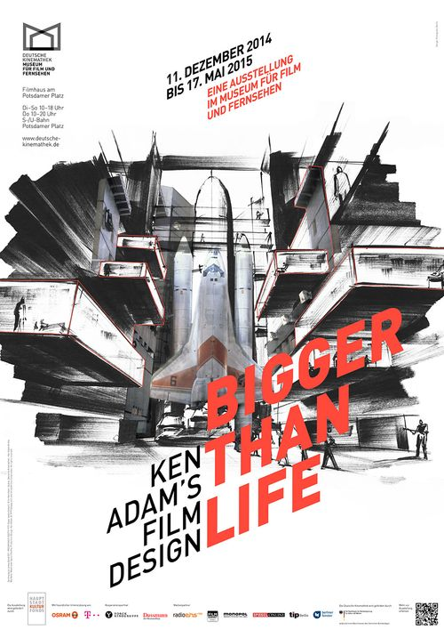 "Poster of the exhibition ""Bigger Than Life — Ken Adam's Film Design"", Deutsche Kinemathek, Berlin"