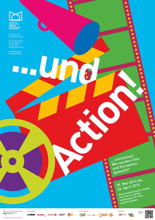 "Poster of the exhibition ""… and Action! How are Films and Television Made? — An Exhibition for Children from 4 to 14 years"", Deutsche Kinemathek, Berlin"