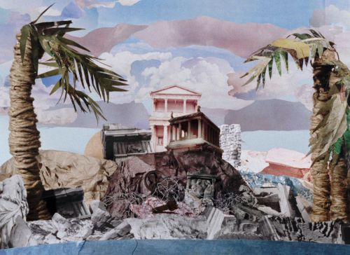 Bild einer Collage aus Animationsfilm. In der Mitte ein eingestürzter griechischer Tempel auf einer Klippe über dem Meer, recht uns links davon jeweils eine Palme.