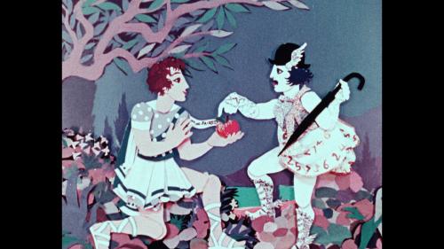 Farbige Scherenschnittanimation. Links kniet der Prinz Paris, rechts reicht ihm der Götterbote Hermes einen Apfel.