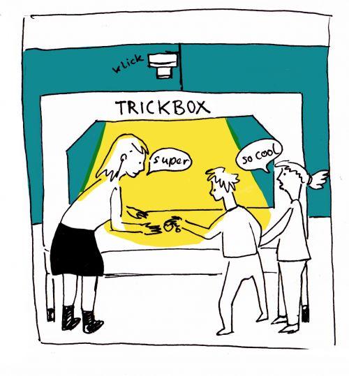 Zeichnung von einer Frau mit zwei Kindern am Tricktisch