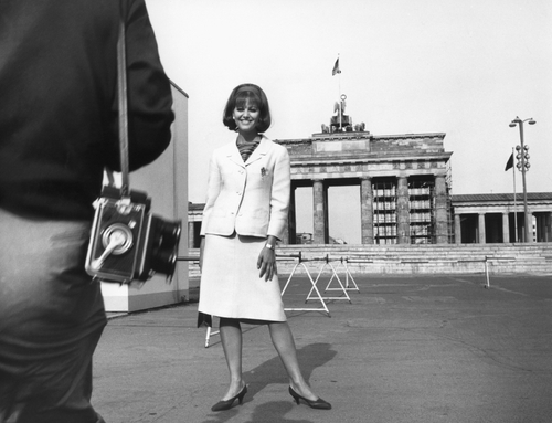 Claudia Cardinalein front of the Brandenburg Gate 1964