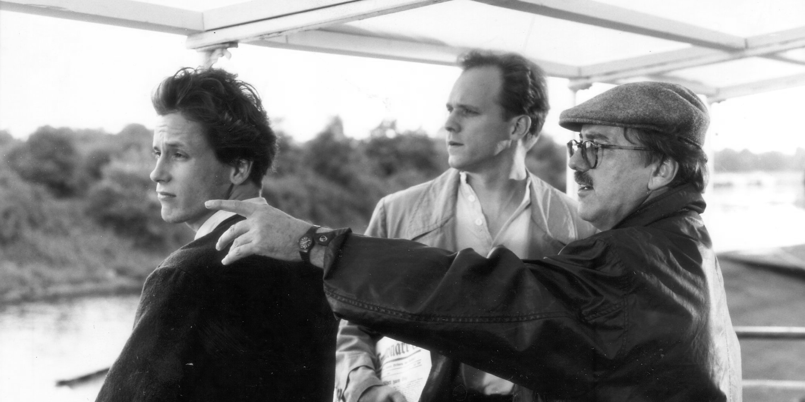 Heinrich Breloer and Ulrich Tukur during the shooting of Wehner – Die unerzählte Geschichte (G 1993)