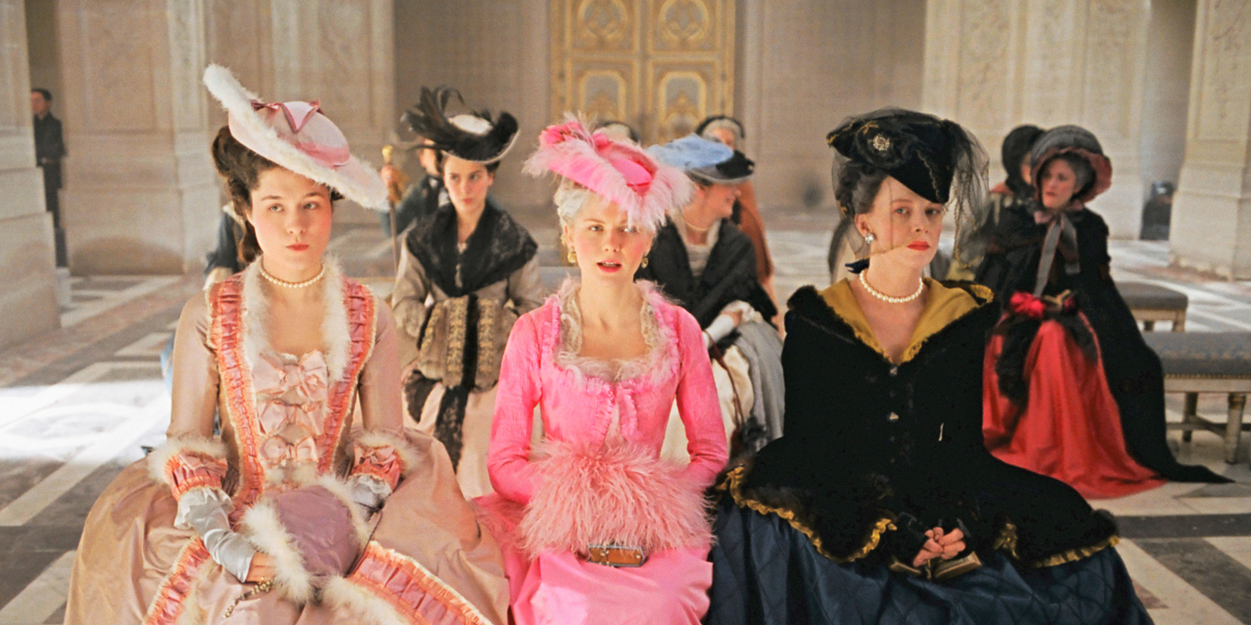 Mary Nighy, Kirsten Dunst and Judy Davis in Marie Antoinette, directed by Sofia Coppola